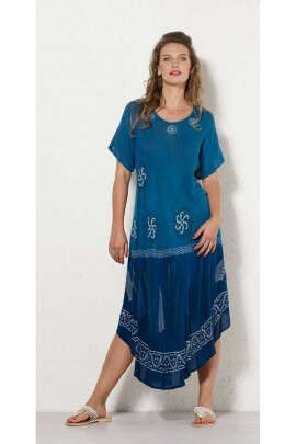 Long dress ethnic for the heat wave, in crepe viscose, printed, tie-dye original