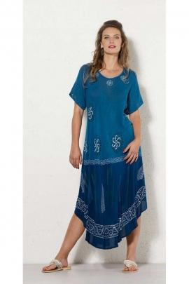 Robe longue ethnique pour la canicule, en crêpe de viscose, imprimé tie and dye original