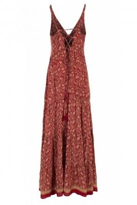Robe bohème longue et colorée, tissu sari original, fines bretelles et dos nu