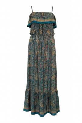 Dress bohemian long casual fabric sari original, v-neck bardot