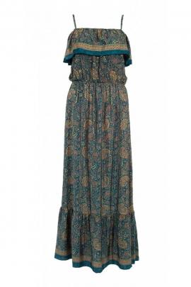 Robe bohème longue décontractée, tissu sari original, col bardot
