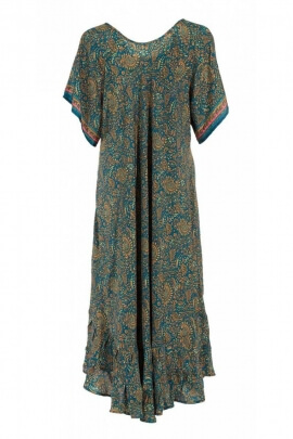 Robe bohème longue colorée, tissu sari original, manches mi-longues