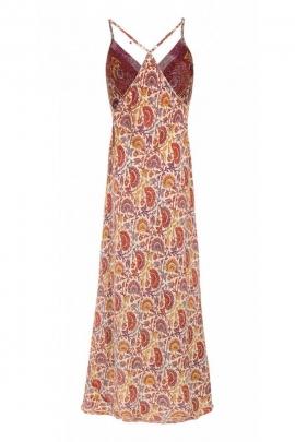 Long dress bohemian fabric sari original, elegant dress and sexy