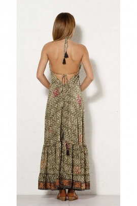 Dress bohemian long original fabric sari with spaghetti straps and bare back, elegant dress and sexy