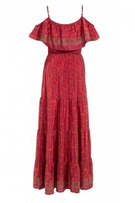Robe bohème longue, tissu sari coloré, fines bretelles et col bardot