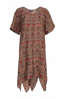 Tunic dress sari colored, loose cut, large sizes
