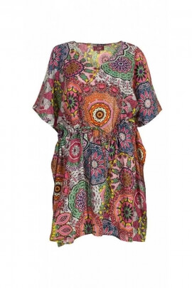 Tunic dress, relaxed style Kaftan, with short sleeves and lace under bust