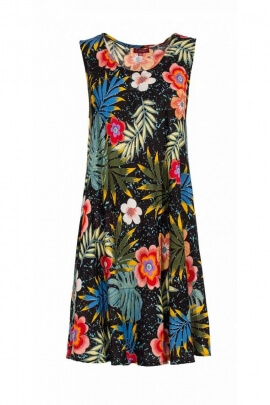 Short dress casual, viscose, printed, bora bora colorful