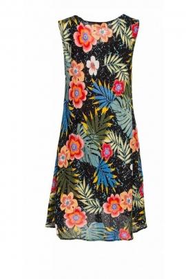 Short dress casual, viscose, printed, bora bora colorful