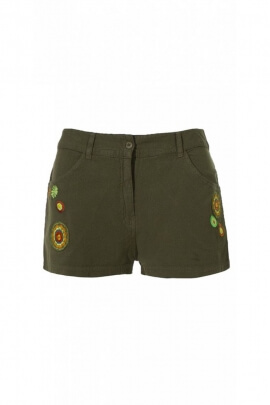 Shorts hippie chic cotton with embroidery colorful