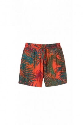 Shorts casual, viscose, printed palm tree tropical colorful
