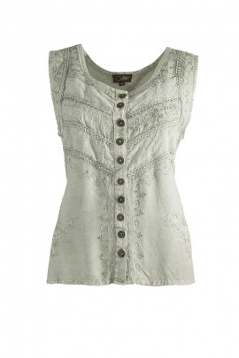 Tank embroidered stone washed wood buttons