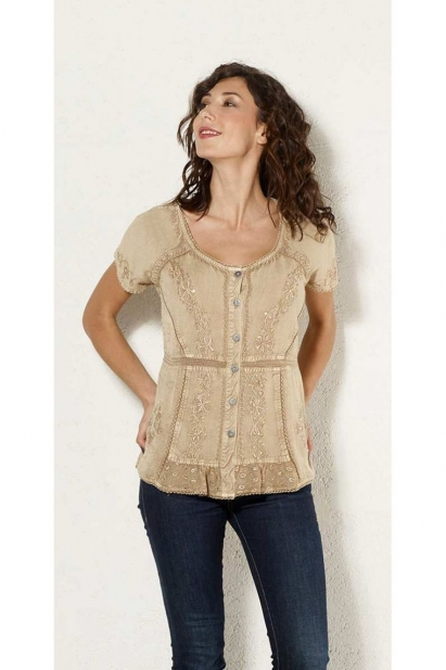 Blouse ethnic stone wash, blouse embroidered with sequins and beads