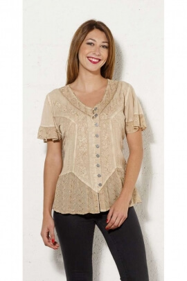 Blouse embroidered in viscose, blouse indian stone wash original