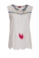 White blouse cotton, sleeveless, scoop neckline slit and cord