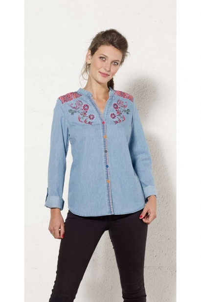 Shirt trend, jean, embroidered, cotton, floral pattern colorful