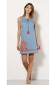 Dress jean casual cotton, floral pattern colorful, ribbon and pom-poms
