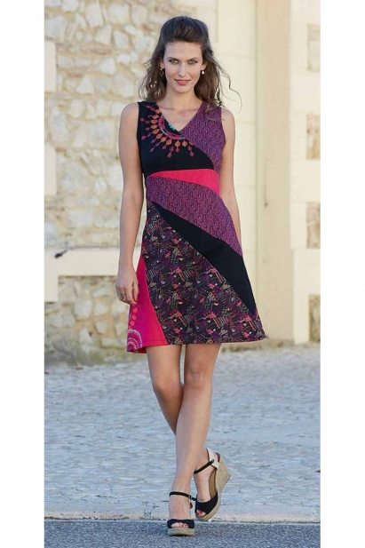 Dress ethnic colorful, patchwork, asymmetrical, matte effect-heart