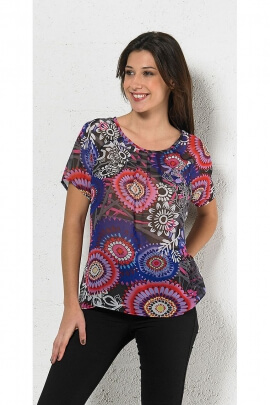 Blouse end printed loose fit