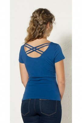 Tee-shirt original with small sleeves and crisscross back design, pattern, Kenya colorful