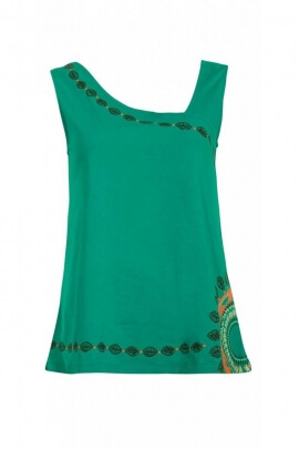 T-shirt tank top ethnic style, amazon, cut the original and asymmetrical neckline