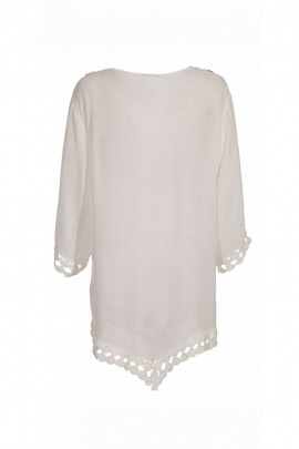 Tunic embroidery and casual, style baba cool original, fringed