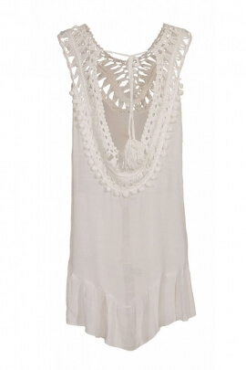 Tunic tank top ethnic embroidery English and fringes, bohemian-style