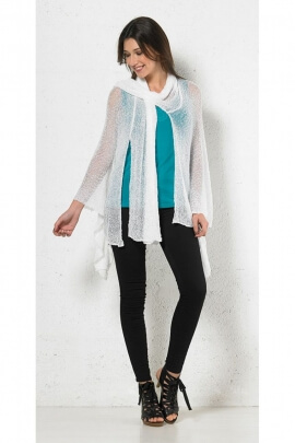 Jacket bohemian summer, stretch mesh and transparent, collar scarf