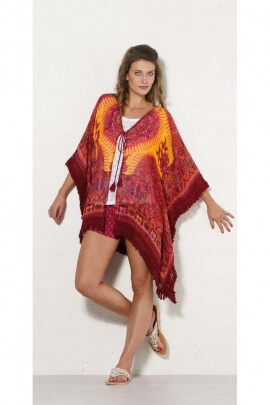 Tunic indian original fringed, ¾ sleeve, bohemian-style