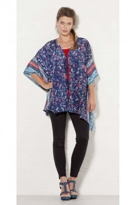 Tunic is original and colorful, ¾ sleeve, inspiration bohemian and lace-up