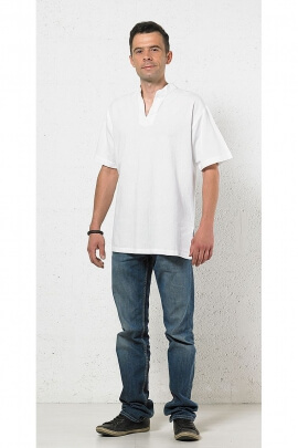 Chemise homme col Mao manches courtes
