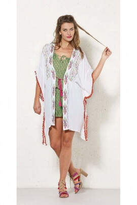 Tunic poncho casual, crepe and viscose embroidery colorful