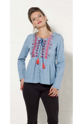 Tunic casual cotton jean embroidered long sleeve