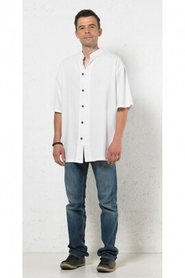 Shirt for man casual cotton, buttoned collar and mao