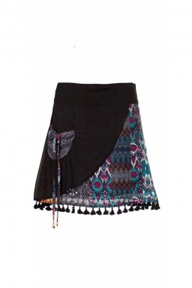 Short skirt bohemian original in cotton voile, printed skirt and colorful