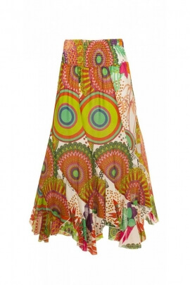 Long skirt twist bohemian and casual, in cotton voile printed