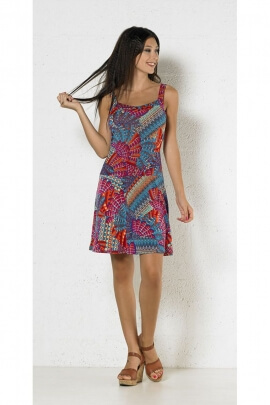 Short dress ethnic knit of polyester and elastane, exotic motifs