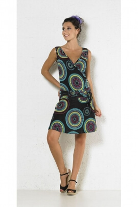 Short dress ethnic strapless cache-coeur draped over the hip