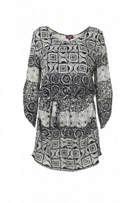 Short dress ethnic black-and-white, viscose, printed cube original