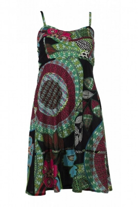 Summer dress ethnic short, spaghetti strap, printed, leaf, exotic and colorful