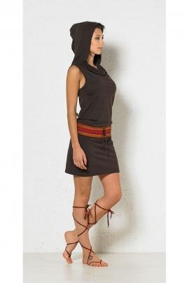 Robe savane courte originale à capuche, ceinture aztèque et lacet