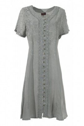 Short dress buttoned all the original finish stone wash, style bohemian