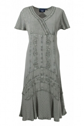 Short dress ethnic embroidered viscose, high waist, stone wash, style bohemian