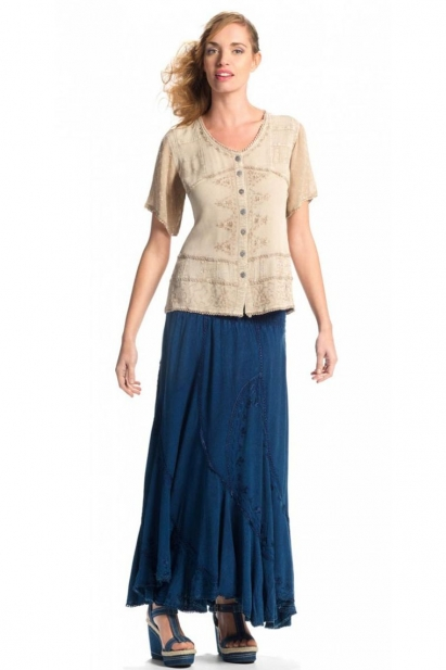 Blouse bohemian original and embroidered, short sleeves transparent, stone wash