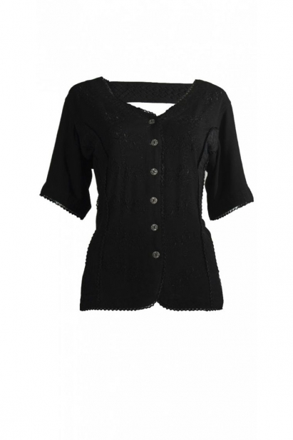 Blouse embroidered original and ethnic, pretty braid at the back, buttons metal