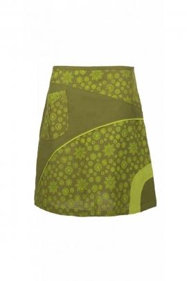 Short skirt ethnic original, printed escutcheon, patch asymmetrical