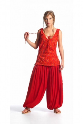 Harem pants zouave original viscose, solid color, size buttoned