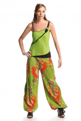 Pants ethnic colorful, cotton, impressions cubic