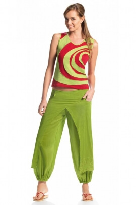 Capri pants ethnic cotton voile, with overlay of pan skirt