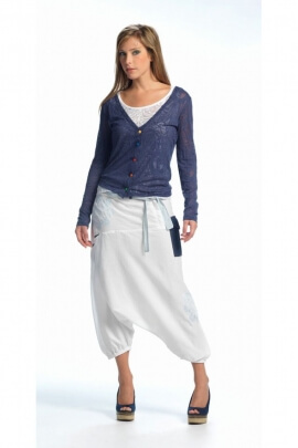 Harem pants original mid-to-long-cotton, waistband, scarf and printed escutcheon